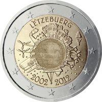 2 евро 2012 Люксембург 10 лет наличному евро UNC из ролла