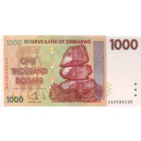 Зимбабве 1000 долларов 2007 UNC