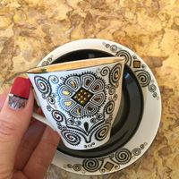 Чашка (фарфоровая кофейная тройка) Солнце, Рига. СССР