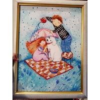 """Картина Екатиры Можейко. """"дождь"""". 46х36см. с московской выставки"""