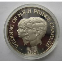 Самоа и Сисифо 1 доллар 1981 Свадьба принца Чарльза и леди Дианы. Серебряная редкая  .12Е-09