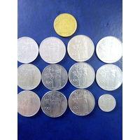Сборный лот Италия 100 лир 12шт +1 шт 200 лир погодовка