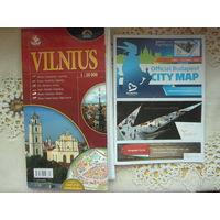 Карта Вильнюса и Будапешта