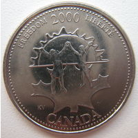 Канада 25 центов 2000 г. Миллениум. Свобода (g)