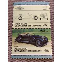 Остров Юнион. Сент-Винсент и Гренадины. Автомобили мира. Lagonda V12 1938. Марка из серии