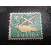 Ямайка 1964 карта и флаг страны
