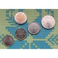 Саудовская Аравия набор монет 5, 10, 25, 50, 100 халала. Пальма. UNC.