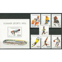 Танзания - 1993 - Спорт [Mi. No 1467-1473, 212] - полная серия - 7 марок и 1 блок. Состояние ** MNH.