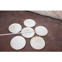 Латунные подставки под бокалы, покрытые эмалью, клеймо Grasoli, диаметр 9.5 мм., 6 шт., в упаковке.