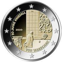 2 евро 2020 Германия  Коленопреклонение в Варшаве J UNC из ролла