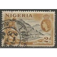 Нигерия. Королева Елизавета II. Добыча олова. 1953г. Mi#74.