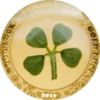 """Отличный подарок! Палау 1 долларов 2016г. """"Клевер на Удачу"""". Монета в капсуле; сертификат. ЗОЛОТО 1гр."""
