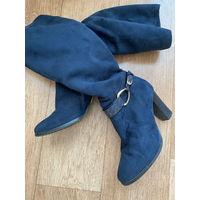 Сапоги зимние темно синие замшевые