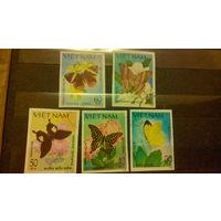 Бабочки, насекомые, марки, фауна, флора, цветы, Вьетнам, 1983, б/з