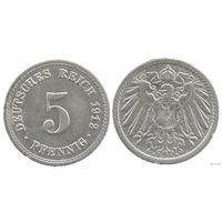 YS: Германия, Рейх, 5 пфеннигов 1912A, KM# 11 (2)