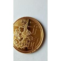 """Китай сувенирная монета """"Год мышь"""" позолота. 38 мм. распродажа"""