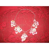 Милое ожерелье нежно-розового цвета. Серьги в подарок! Старт с 5 000. Без МЦ.