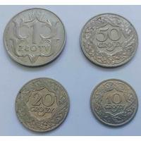 Комплект никелевых монет Польши. 1 злотый 1929 г. 50, 20, 10 грошей 1923 г.