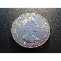 Остров Святой Елены. 50 пенсов 2000 год - /75 лет Королеве Елизавета II/ UNC/ (17822)
