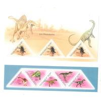 Гвинея Динозавры 2011 год чистая полная серия из листа и блока