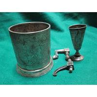 С 1 рубля!Русское Царское серебро подстаканник и чарка 84 пр.