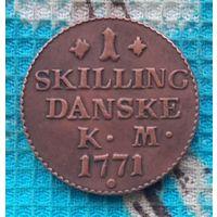 Датская 1 скиллинг 1771 года. Корона. Кристиан VII