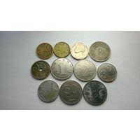 Монеты мира 11 шт. без повторов