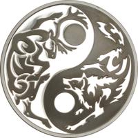 """Острова Кука 5 долларов 2014г. """"Инь-Янь: Волк и Карибу"""". Black Palladium. Монета в капсуле; сертификат. СЕРЕБРО 31,10гр.(1 oz)."""