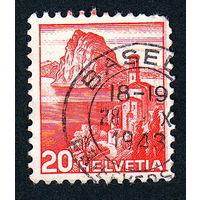 Швейцария, почтовая марка, 1936 год, номинал 20с, SG#375A (*8)