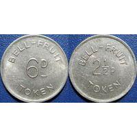 Жетон игральный bell fruit token 6d - 2.5  pence,  Великобритания