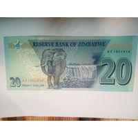 Зимбабве 20 долларов UNC с 2 руб.