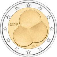2 Евро Финляндия 2019 года Конституция Финляндии 1919 года UNC из ролла