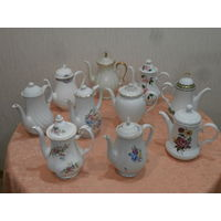 Коллекция 8 чайников фарфор Англия Германия.
