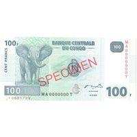 YS: Конго, 100 франков 2007, P# 98s, SPECIMEN, UNC