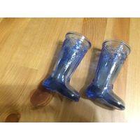 Стильные рюмки сапожки, синего цвета, высота 9 см, диаметр верха 4 см. Цена указана за пару. Покупала в Германии.