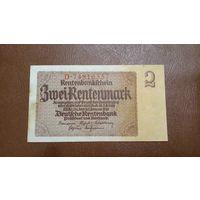 Германия / 2 rentenmark / 1937 год / Ro-167 (b) / Reichsdruck / 8 цифр в номере