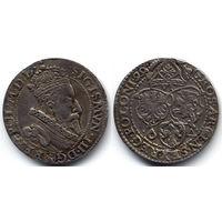 6 грошей (шостак) 1599, Сигизмунд III Ваза, Мальборк. Ав - вариант портрета с малой головой. Более редкий тип шостака, R1, надчекан на Ав.