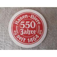 """Подставка под пиво (бирдекель) """"Hasen-Biere"""" (Германия)."""