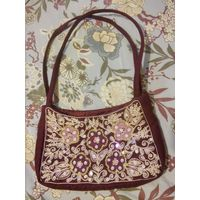 Легкая нарядная сумочка, текстиль, вышивка, винтаж
