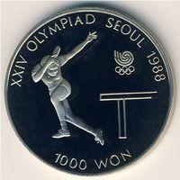 1000 вон 1988 XXIV Олимпиада Сеул 1988 настольный теннис пруф.