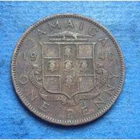 Ямайка Британская колония 1 пенни 1940 Георг VI тип 2