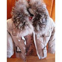 Пальто Пуховик show image серебристого цвета из пуха р.С