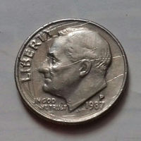 10 центов (дайм) США 1987 P