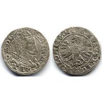 Грош 1607, Сигизмунд III Ваза, Краков.  Рв - герб Леварт в овальном щитке, редкий вариант, R4!