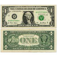 США. 1 доллар (образца 2001 года, B, Нью-Йорк, P509)