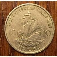 Восточные Карибские штаты, 10 центов 1987