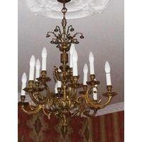Уникальная антикварная потолочная люстра.Франция,конец 19 века.Бронза,ангелы,колокольчики. Золочение серебрение.