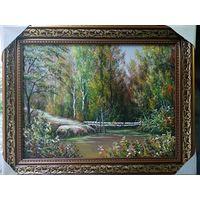 """Картина маслом """"Лесной ручей"""""""