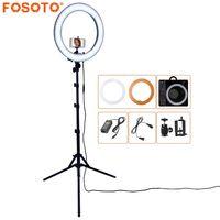 FOSOTO RL-18 55 Вт 5500 К 240 светодиодный фото освещение камера с регулируемой яркостью фото студия Кольцевой Светильник Прожектор