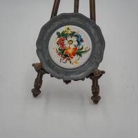 Тарелочка 26 подставка плакетка олово фарфор
